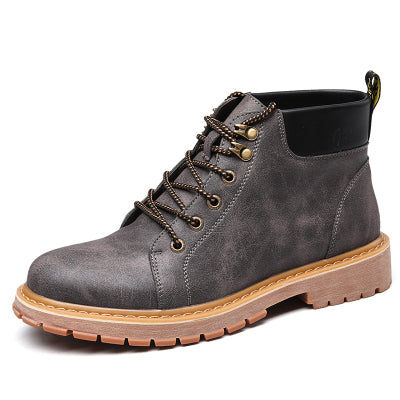 men's lace-up combat ankle boot in grey
