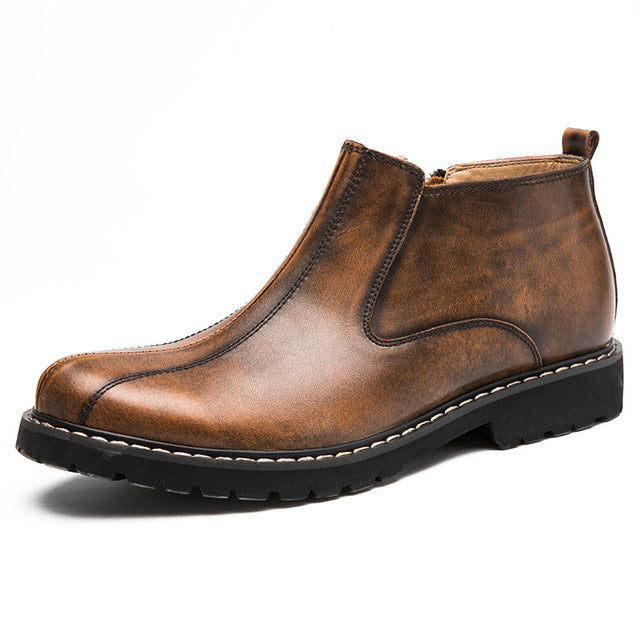 men's slip on leather ankle boot in brown