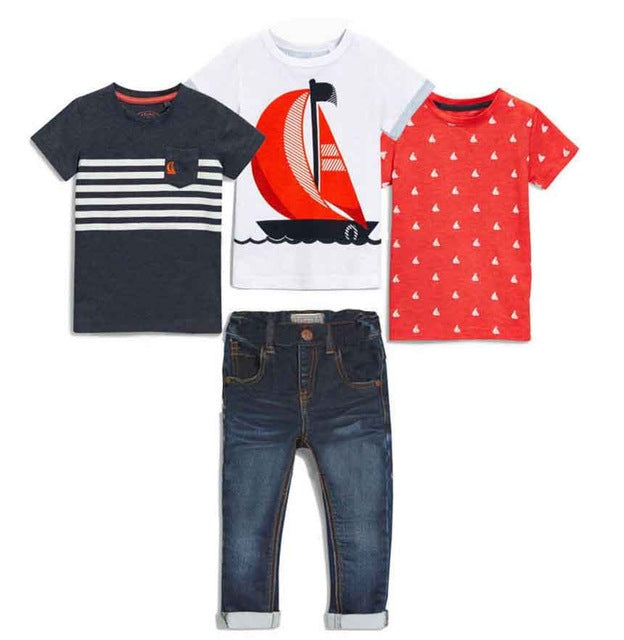 Boys 4 Piece Set. T-shirts and Jeans