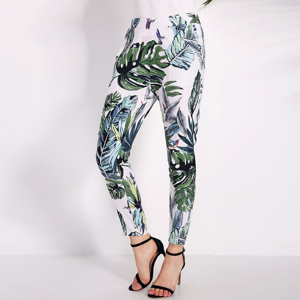Pencil Pants Ladies Bohemian Summer Beach Pants with floral print