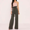 High waist pants with a ruffle tie waist