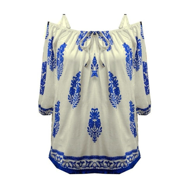 Women's Vintage Print Cold Shoulder Blouse