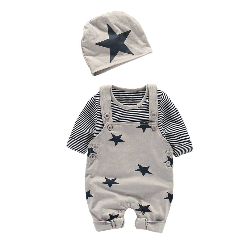 Baby boy Shirt and Overalls Set With Hat