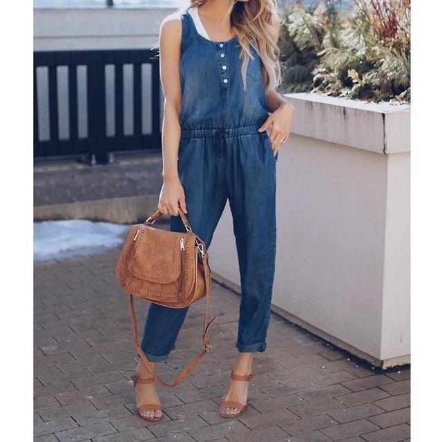Women's Denim Tie Waist Jumpsuit