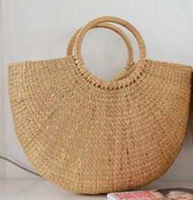 Women's Semi Circle Rattan Tote