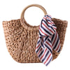 Women's Straw Tote with Scarf
