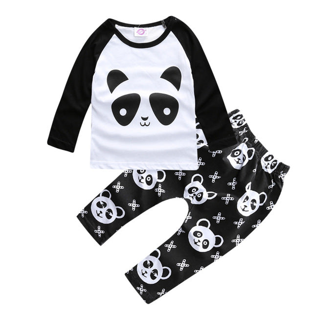 "BABY TODDLER PLAYWEAR COTTON ""CUTE PANDA"" 2pcs"