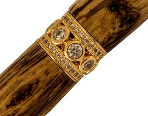 Handcraft Wooden Pen featuring jewelled ring and Spalted grain