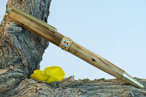 Handmade Wooden Pen made from New Zealand Broom Wood with Satin Gold with Jewelled Centre Ring