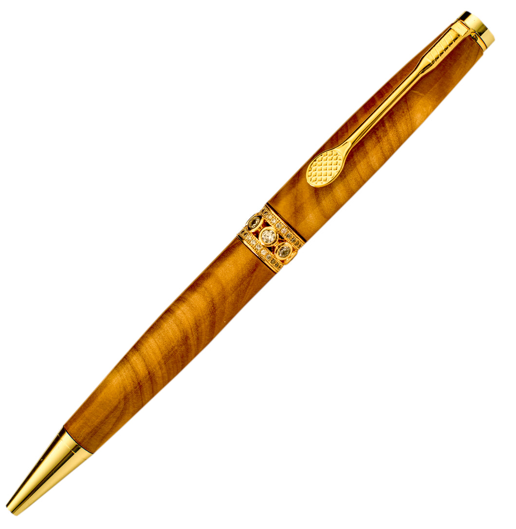 New Zealand Macrocarpa Handcrafted wooden Pen with Gold plated fittings and jewelled centre ring