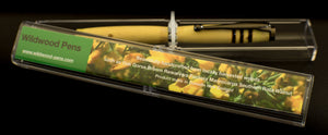 Lovely Christmas Gift Handcraft Wooden Pen Made From New Zealand Green Gorse With Black Chrome Adornments