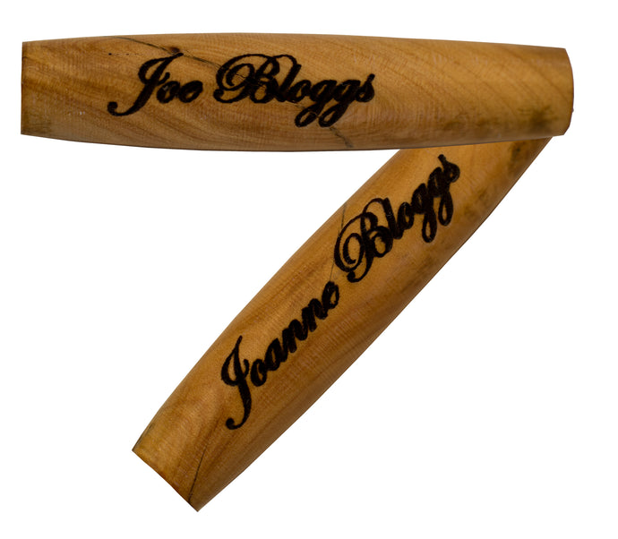 Name laser engraved on handcrafted wooden pen barrel