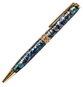 Paua Ball Pen with Gold Jewelled Centre Ring