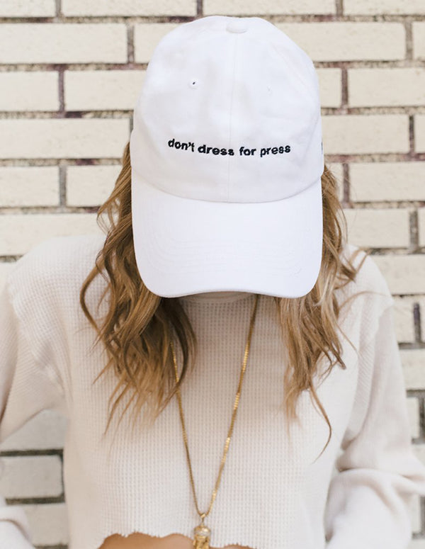 Dimepiece Don't Dress for Press White Hat Blk Embroidery