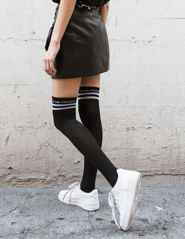 Don't Dress for Press Thigh High Socks Black