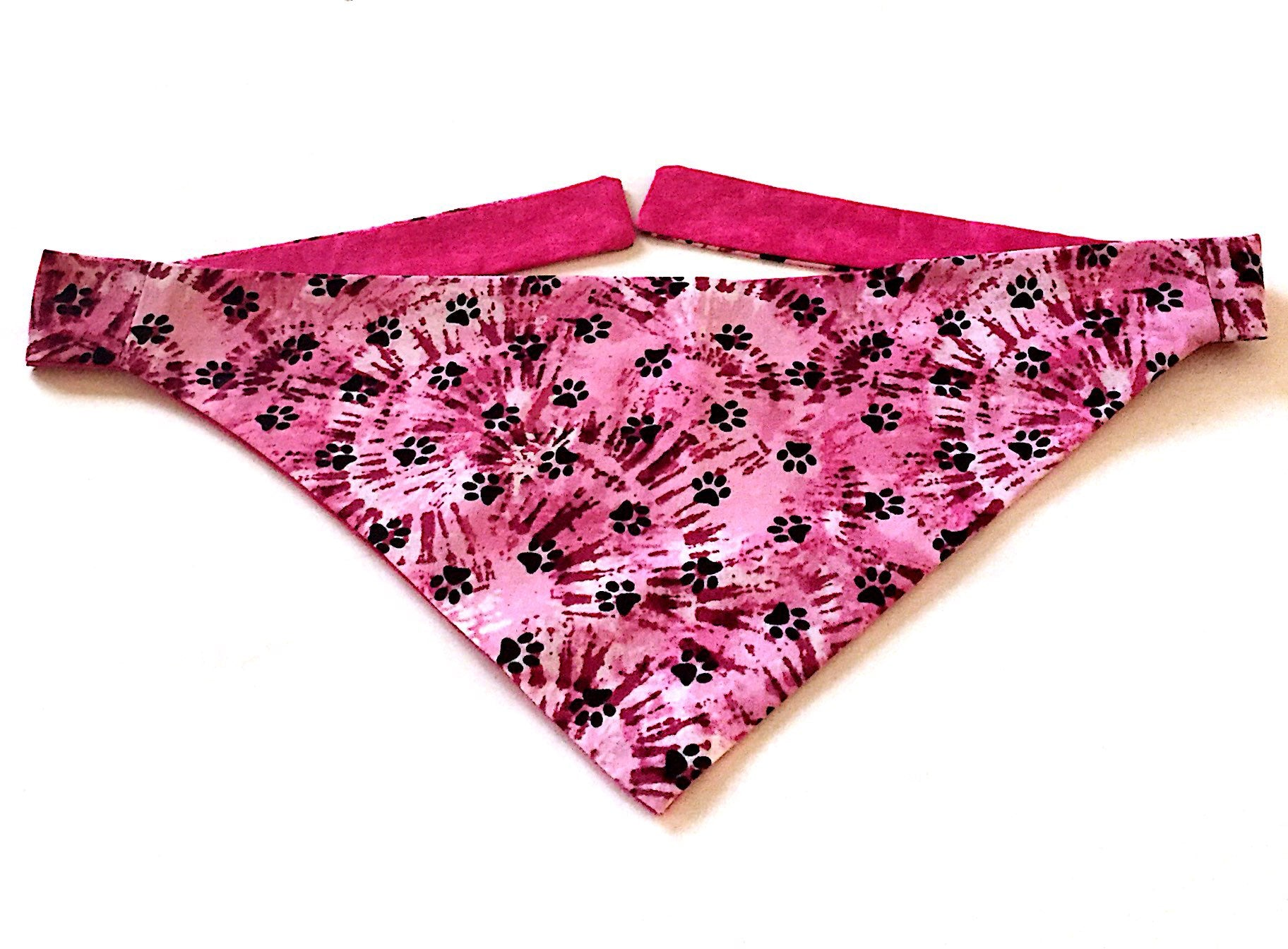 Pink Paws Tied Died Dog Bandana