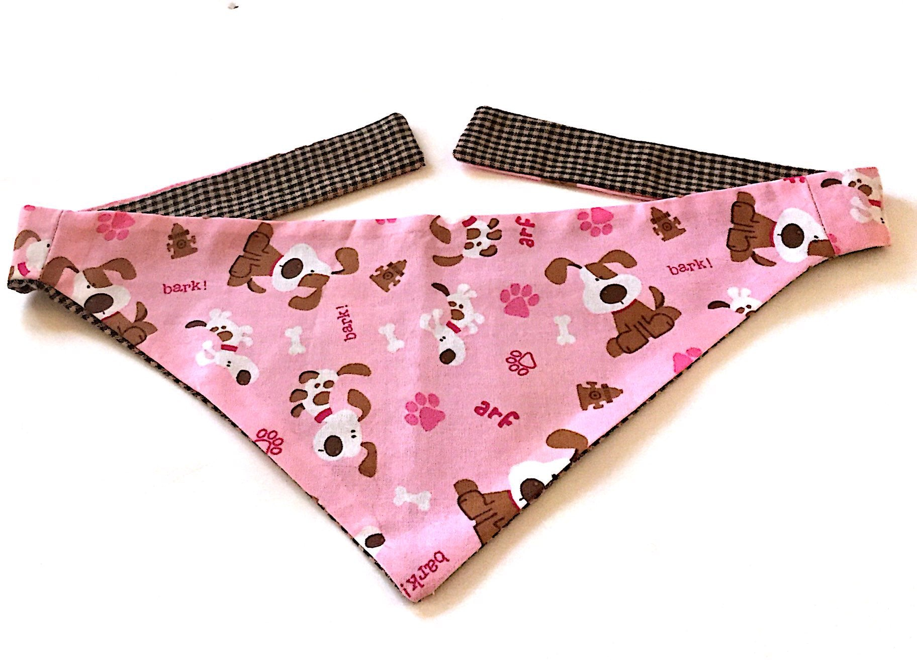 Pink Bandana with Brown spotted dog