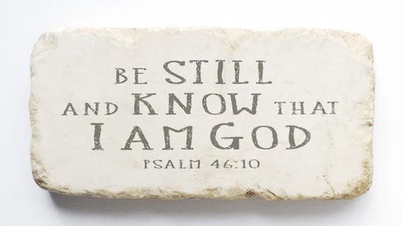 Twelve Stone Art - Half Block - Psalm 46:10 Natural Background