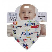 LB Airplane and Trucks Bandana Bib Set
