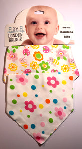 LB Bees and Flowers Bandana Bib Set
