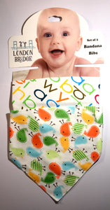 LB Birds and Alphabet Bandana Bib Set