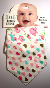 LB Jungle and Hearts Bandana Bib Set