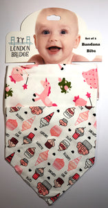 LB Princess and Cupcakes Bandana Bib Set