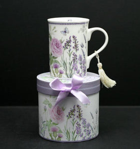 10 oz Straight Mug in Gift Box with Ribbon – Purple Lavender