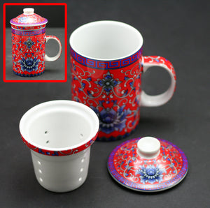 10 oz Porcelain Mug with Filter – Red Lotus