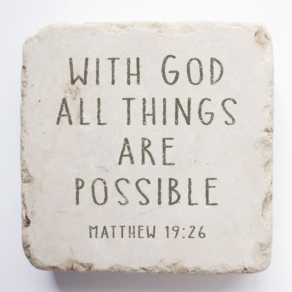 Twelve Stone Art - Small Block - Matthew 19:26