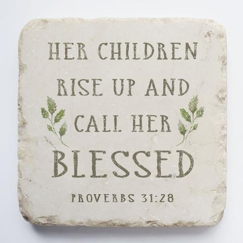 Twelve Stone Art - Small Block - Proverbs 31:28 Natural Background