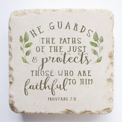 Twelve Stone Art - Small Block - Proverbs 2:8 Leaves