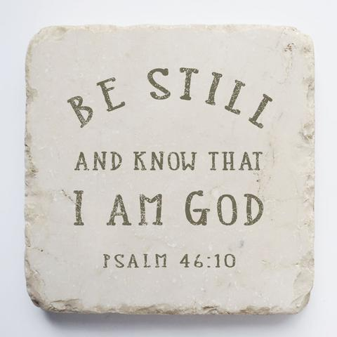 Twelve Stone Art - Small Block - Psalm 46:10 Natural Background