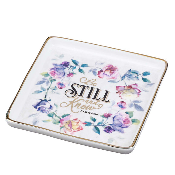 Trinket Tray Ceramic Be Still - Psalm 46:10