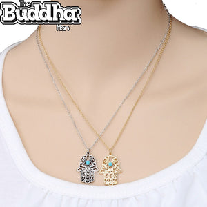 Blue Eye Plated Steel Hamsa Pendant Necklace