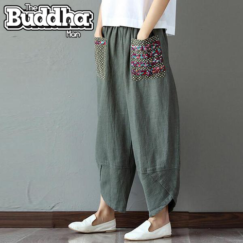 Women's Cotton, Linen Loose Trousers