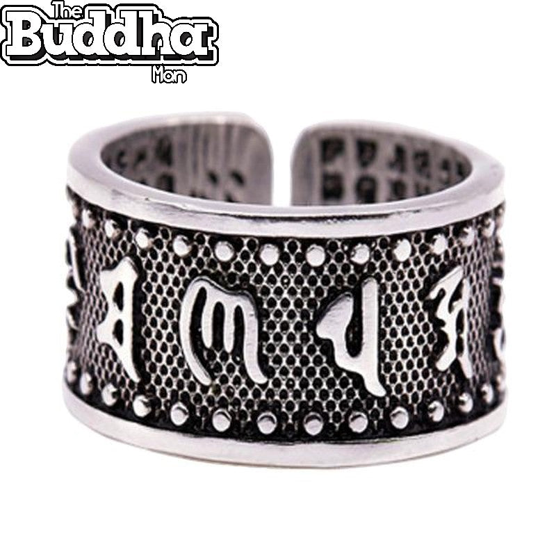 Steel Buddhist Scripture Text Open Ring