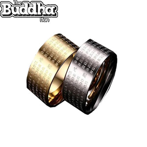 Engraved Buddhist Scripture Text Ring