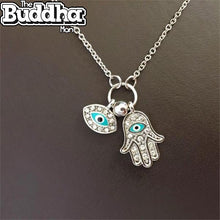 Crystal Eye+Hamsa Pendant Necklace