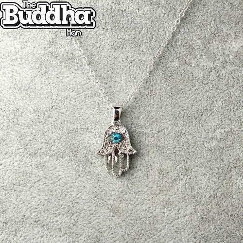Crystal Hamsa Pendant Necklace