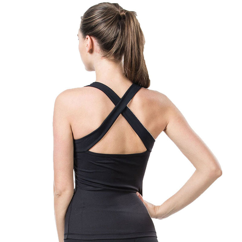 Padded Yoga  Vest Top - Cross Back Breathable