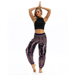 Ethnic Style Wide-Leg Yoga Trousers