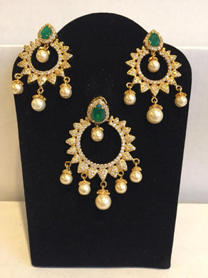 CZ and emerald Pendant sets - 9gems.com