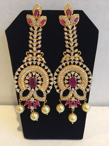 CZ and Ruby long earrings - 9gems