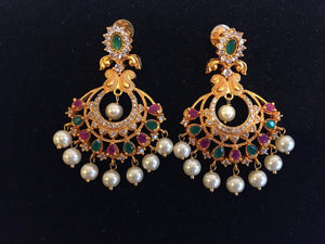 Multi color chandbali with Matt finish - 9gems