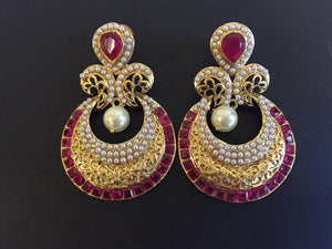 Pearl and Square Ruby Chandbali - 9gems