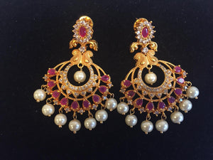 Ruby and CZ earrings along with pearls in Matt finish - 9gems