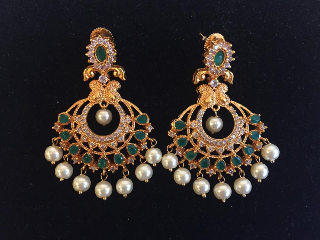 CZ and emerald along with pearl earrings in Matt finish - 9gems