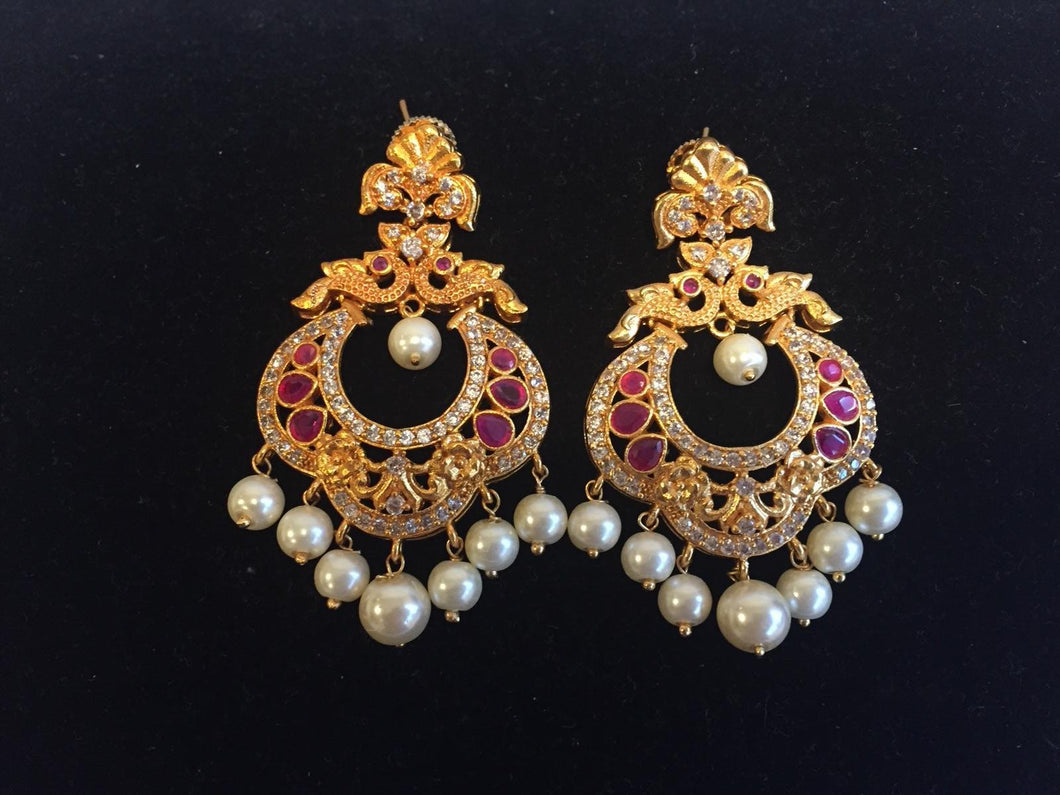 CZ and Ruby along with Pearl Earrings in Matt Finish - 9gems