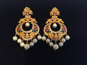 Multi color stone Earrings with Pearl in Matt Finish - 9gems